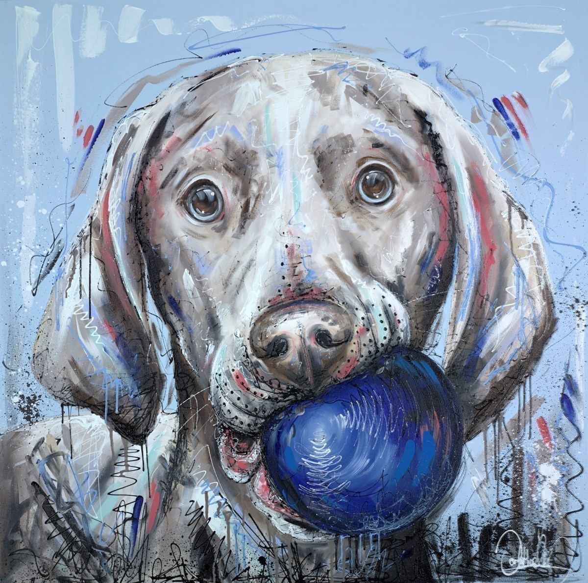 Fetch! by Samantha Ellis -  sized 39x39 inches. Available from Whitewall Galleries